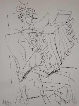 Lithograph Paul  - L'accordéoniste