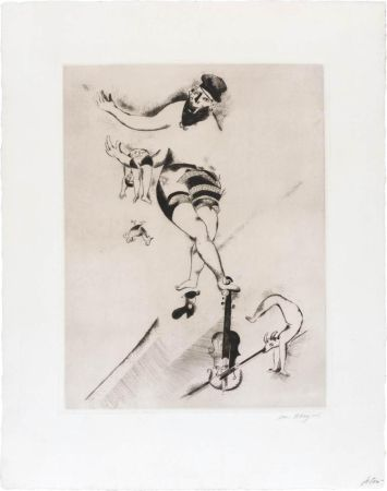 Engraving Chagall - L'acrobate au violon