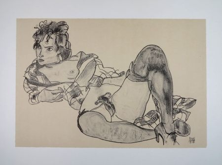 Lithograph Schiele - L'AGUICHEUSE / THE SEDUCTIVE GIRL - 1918