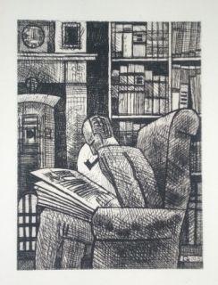 Drypoint Gromaire - L'amateur de livres