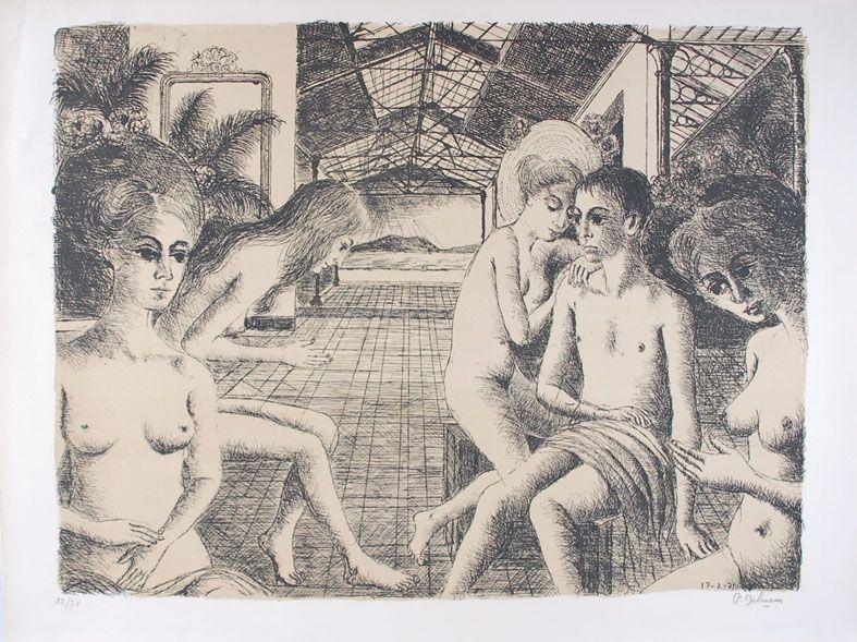 Lithograph Delvaux - L'Amoureux