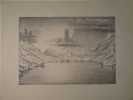Lithograph Stöcklin - Landschaft bei Morcote.