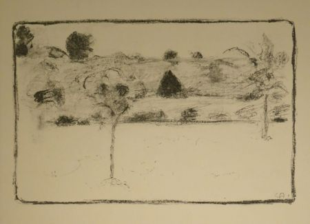 Lithograph Amiet - (Landschaft mit Bäumen)