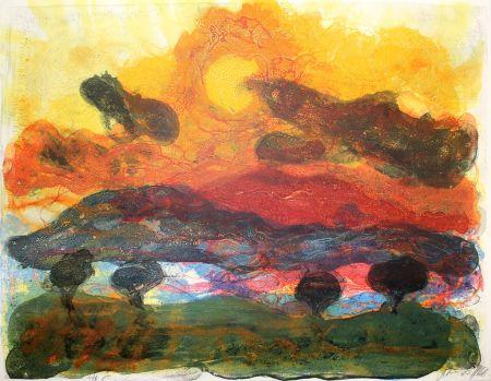 Lithograph Kruck - Landschaft Mit Pinen