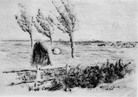Drypoint Liebermann - Landschaft mit Zaun