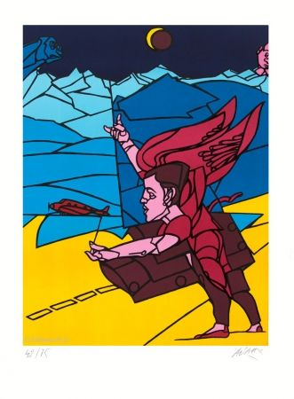 Lithograph Adami - L'Ange
