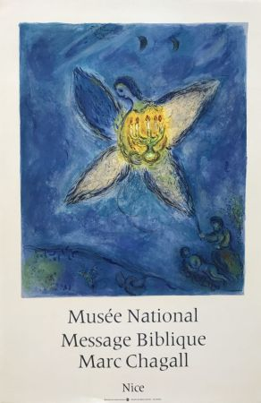 Lithograph Chagall - '' L'Ange au Chandelier ''