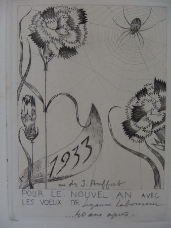 Etching Laboureur - L'araignée aux fleurs