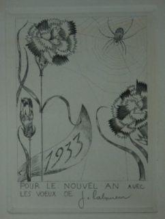 Drypoint Laboureur - L'Araignée aux fleurs
