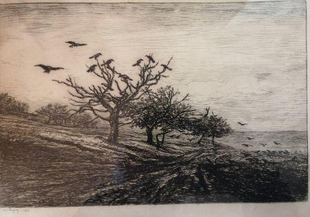 Engraving Daubigny - L'arbre aux corbeaux