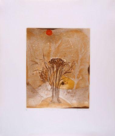 Etching And Aquatint Carcan - L'arbre fleur 2 (Receuil : Les arbres en vacances)