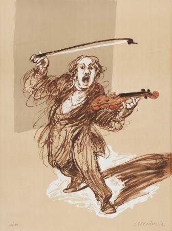 Lithograph Weisbuch - L'ARCHET REBELLE lithographie de Claude WEISBUCH