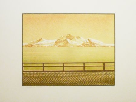 Lithograph Rodrigo - Las grandes montanas por las que el agua desciende