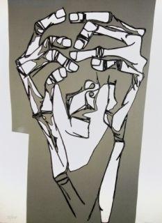 Etching Guayasamin - Las manos del terror