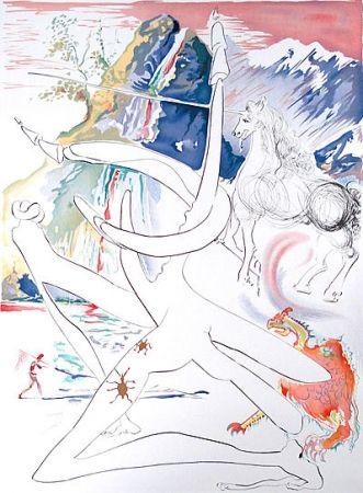 Etching Dali -  Laser unicorn and cosmic rhino