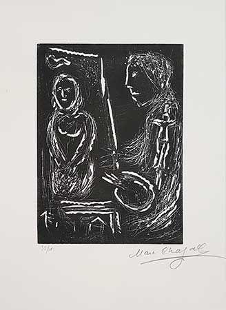 Linocut Chagall - L'Atelier