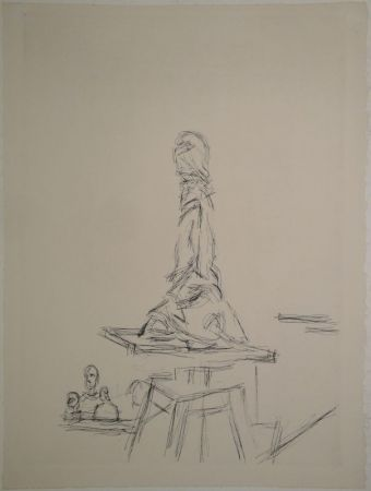 Engraving Giacometti - L'Atelier à la selette I. (Studio with the turntable)