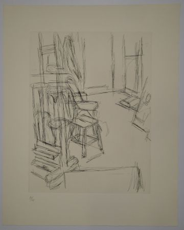 Etching Giacometti - L'Atelier au chevalet (Studio with the Easel)