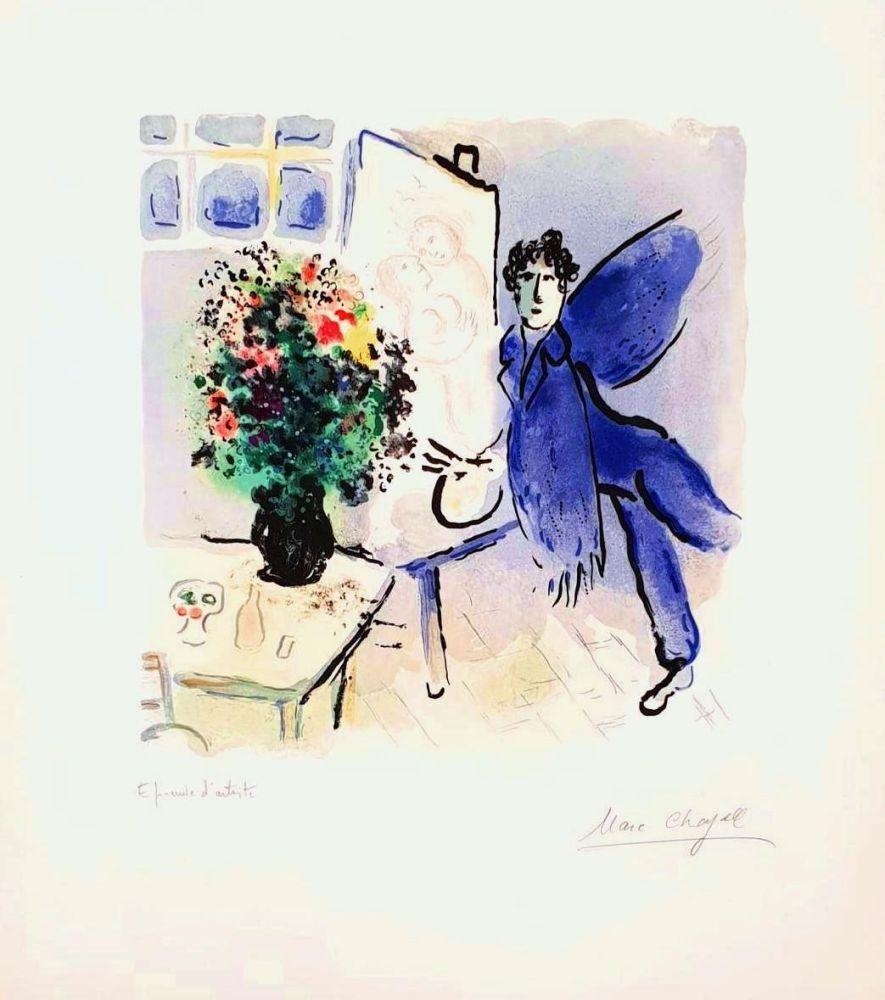 Lithograph Chagall - L'atelier Bleu, The Blue Studio