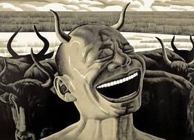 Woodcut Minjun - Laughing w/Horns