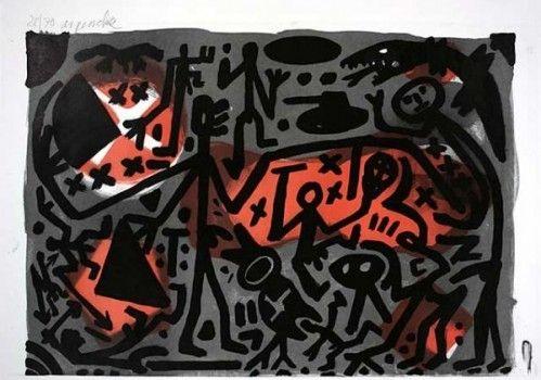 Lithograph Penck - Lausanne 3 Kämpfer