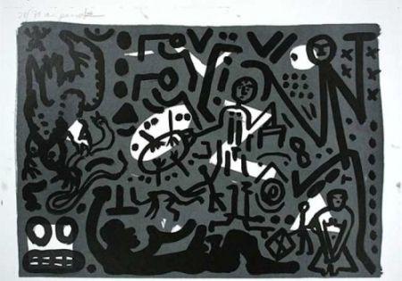 Lithograph Penck - Lausanne 4 Hände auf den Tisch