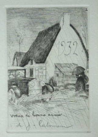 Engraving Laboureur - L'Auto sous la pluie