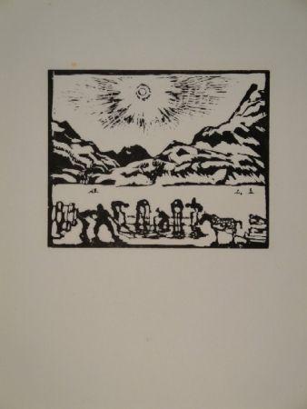 Woodcut Giacometti - Lavoratori del ghiaccio, die Eisbrecher