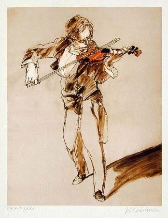 Lithograph Weisbuch - Leçon de violon