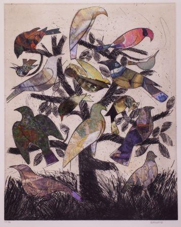 Lithograph Valdés - Le arbre aux oiseaux