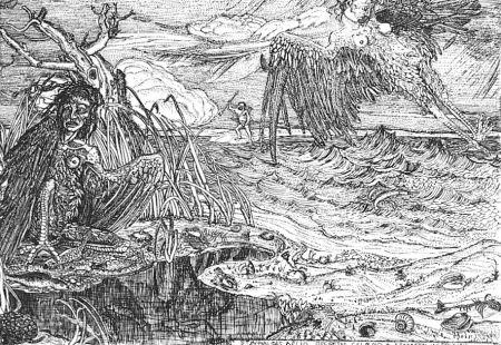 Engraving Bozzetti - Le Arpie del lago Stinfalio