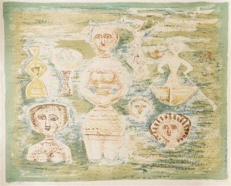 Lithograph Campigli - Le Bagnanti