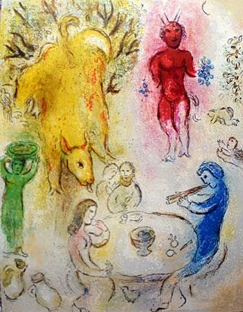 Lithograph Chagall - Le banquet de Pan
