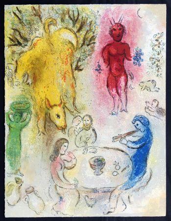 Lithograph Chagall - LE BANQUET DE PAN (de la Suite Daphnis & Chloé - 1961)