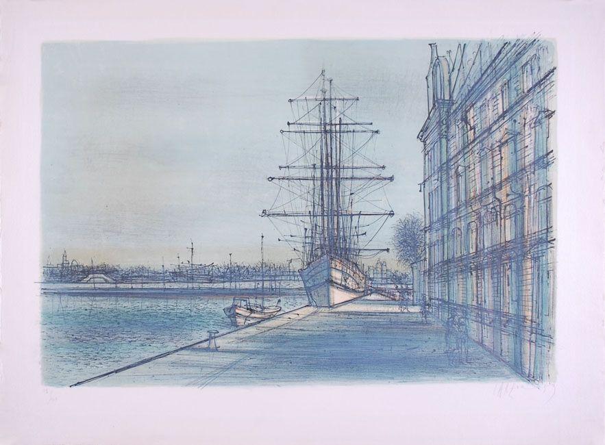 Lithograph Carzou - Le Bateau école à Venise