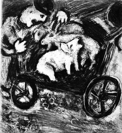 Engraving Chagall - Le Berger et son Troupeau