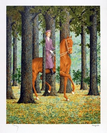 Lithograph Magritte - Le blanc seing