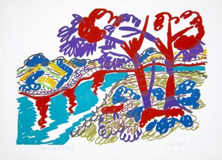 Lithograph Lapicque - Le Bois de pins