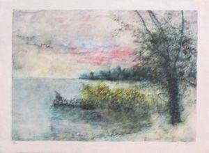Lithograph Gantner - Le bord du lac