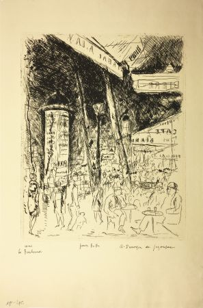 Engraving De Segonzac - LE BOULEVARD MONTPARNASSE. Pour Bubu, 1929.