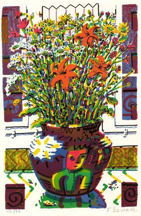 Lithograph Boisrond - Le Bouquet