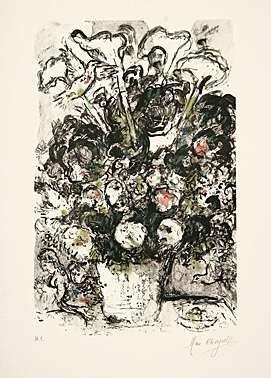 Lithograph Chagall - Le bouquet blanc