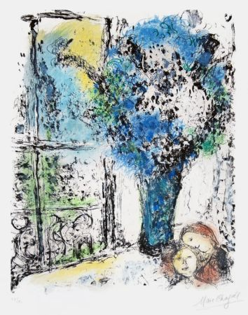 Lithograph Chagall - Le Bouquet Bleu (The Blue Bouquet)