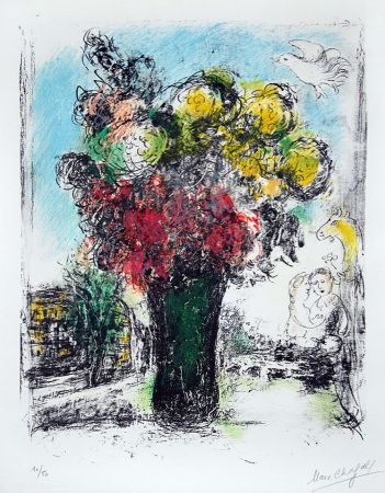 Lithograph Chagall - Le Bouquet Rouge et jaune (Red and Yellow Bouquet)
