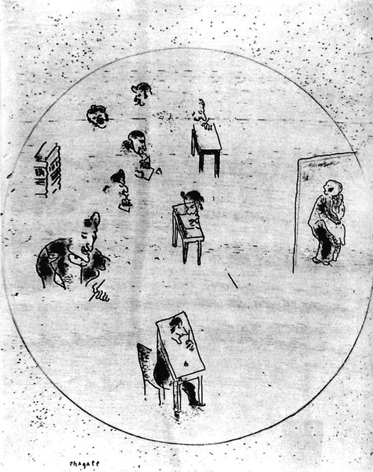 Engraving Chagall - Le bureau des contrats