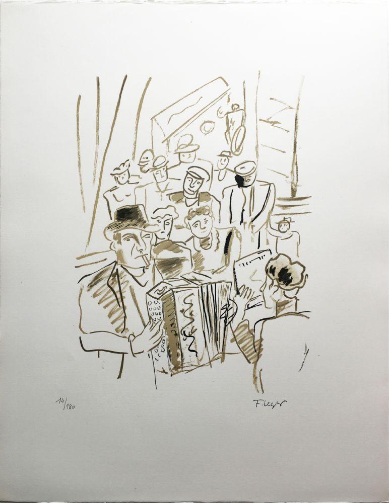 Lithograph Leger - LE CAFÉ ou L'ACCORDÉONISTE (La Ville, Paris 1959)