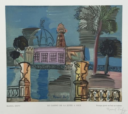 Woodcut Dufy - Le Casino de la Jetée à Nice