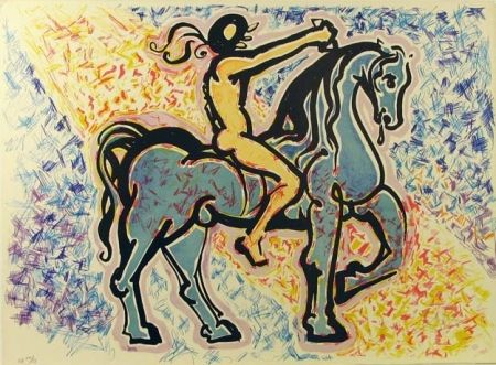 Lithograph Dali - Le Cavalier, from La Jungle Humaine