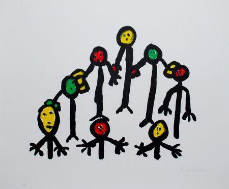 Lithograph Ionesco - Le cercle familial