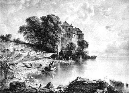 Lithograph Fontanesi - Le château de Glérolles (Lac de Genève)